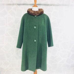 Vintage Wool Fur Winter Coat Green Mod Swing